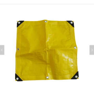 yellow PE tarpaulin with reinforced corner