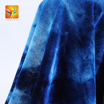 Popular Oem Tie Dye Blue Velour Fabric