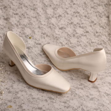 Ladies 2 inch White Ivory Chunky Heels for Wedding
