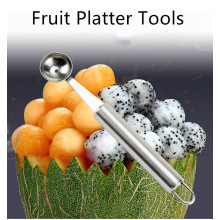 Kitchen Stainless Steel Fruit Platter Tools Carving Knife Watermelon Digging Ball Spoon Cut Fruit Tools Kitchen Stuff
