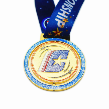 Glitter enamel award medal with ribbon for sale