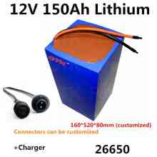 Rechargeable 26650 12V 150Ah lithium liion battery pack for Solar panel solar energy storage RV Engine Starting Battery+Charger