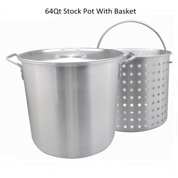 Aluminum stock pot with basket and steam