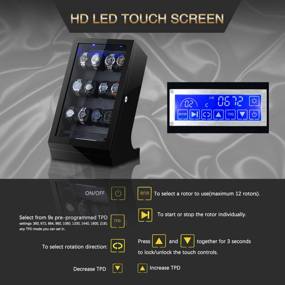 Touch Screen Watch Winder Box Display