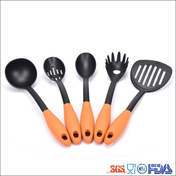 5 piece non-slip handle Nylon cooking utensils accessories