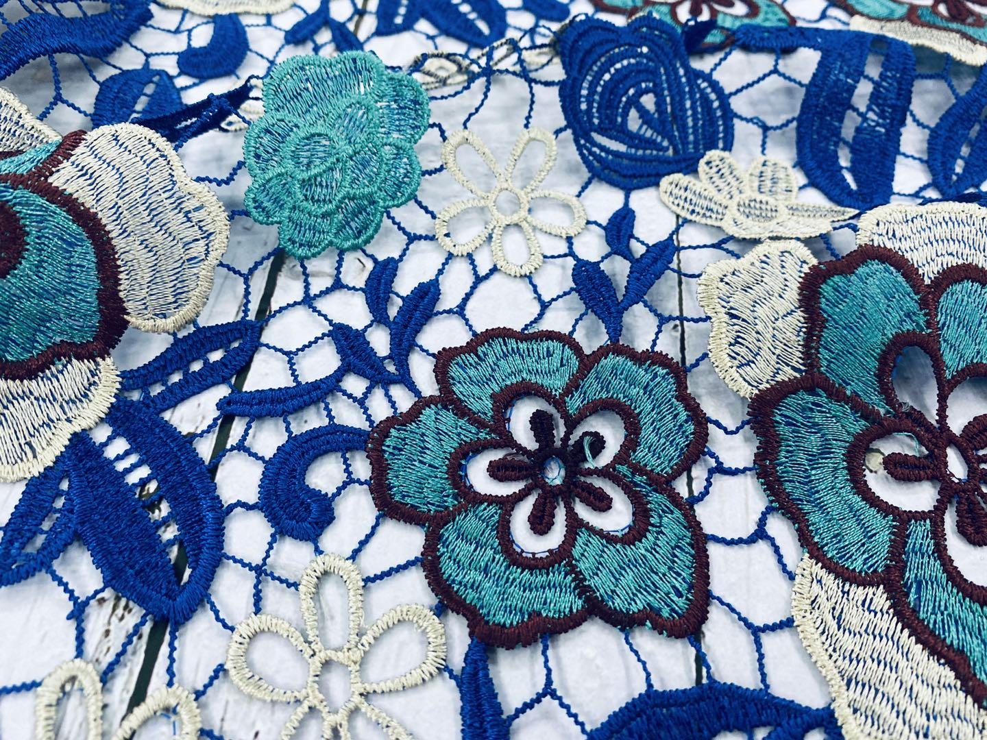 Aqua Chemical Lace Embroidery Fabric
