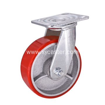 Red Heavy Duty PU on Cast Iron Caster