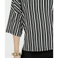 Colorful Striped Cotton Blend Polyester contrast collar Top