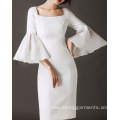 Women Slim Waist Flare Sleeve Dress
