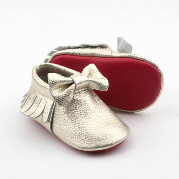 Soft Leather Baby Toddler Shoes Moccasins with Bow
