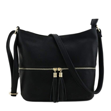 New Design Leather Tassel Zipper Bucket Crossbody Bag