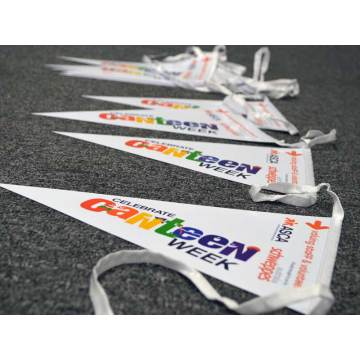 orange custom printed safety pennants flags