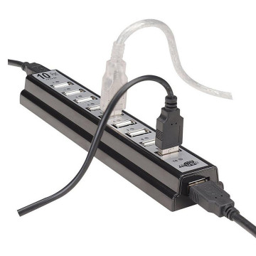 1PC 10 Ports USB 2.0 Hub 480 Mbps Hi-Speed USB Hub With Power Adapter for PC Laptop Computer Drop Shipping 3