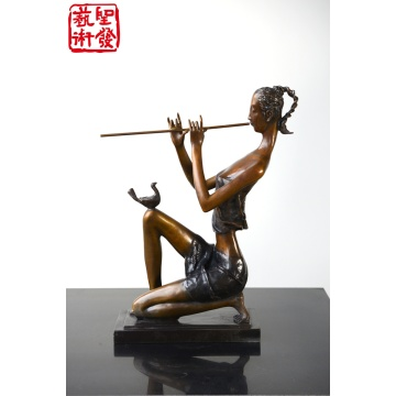 Modern Small Copper Female Arts Sculpture For Indoor Decorati