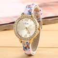 Printing Leather Rhinestone Watch for Women