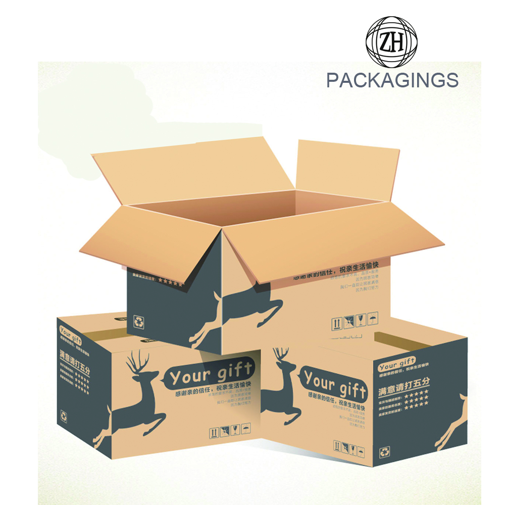 Eco-friendly brown corrugated paper carton box