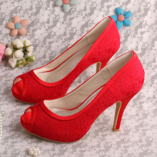 High Heel Red Lace Wedding Shoes Canada