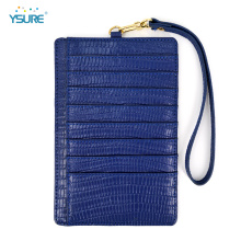 Slim Minimalist Lizard Pattern Leather Credit Card Holder