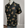 Mens 100pct ramie print short sleeve shirt