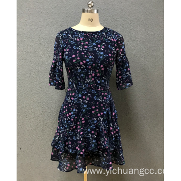 women`s print chiffon dress