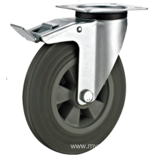 160mm industrial rubber  swivel   casters with  brakes