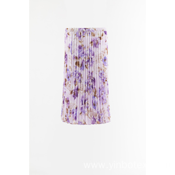 Print woven pleated skirt