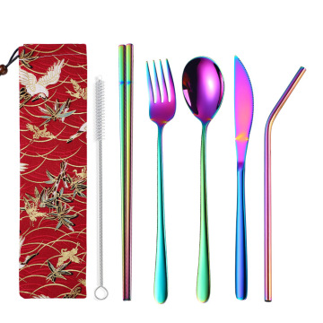 Metal fork spoon straw cutlery set for camping