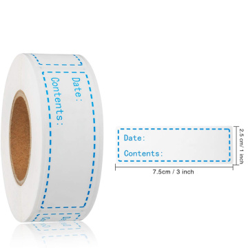 Waterproof food storage refrigerator freezer label roll