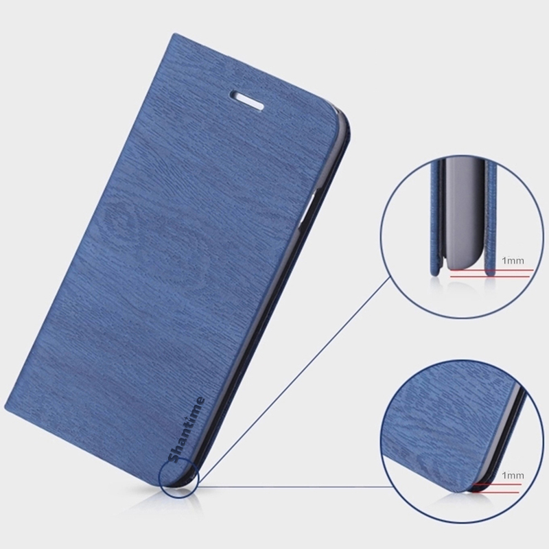 Wood grain PU Leather Phone Case For Infinix Hot 6 Pro X608 Flip Book Case Business Wallet Case Soft Silicone Back Cover