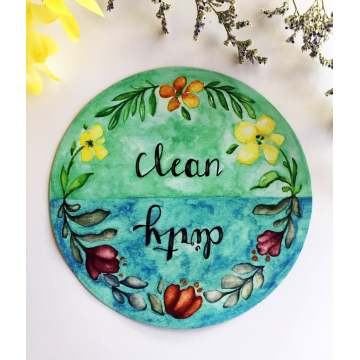 Custom Watercolor Clean Dirty Dishwasher Magnet