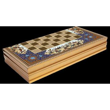 Persian Pattern Laminated Compressed Wood Checkers Backgammon Set