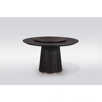 Round wooden dining table