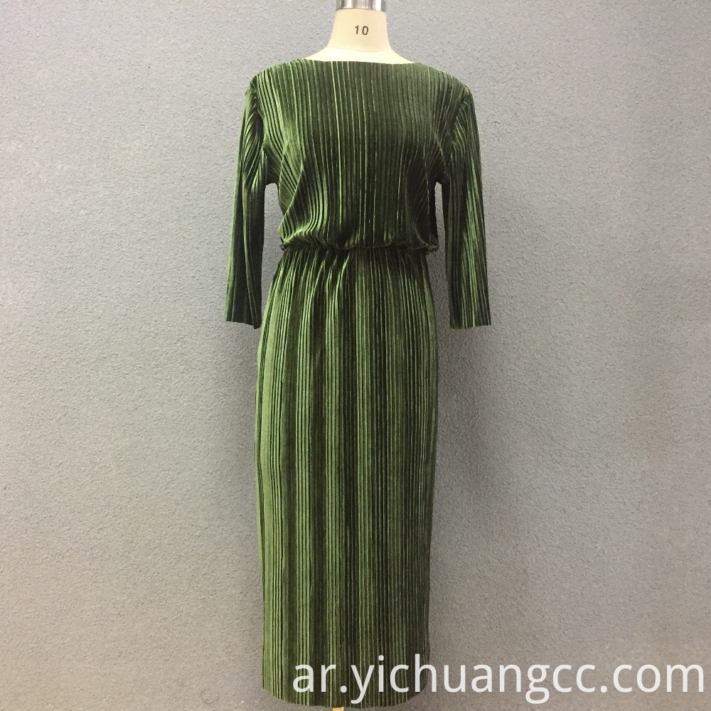 Women's cotton elastic corduroy long dress