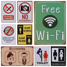 30X20cm Free WIFI WC Toilet No Smoking Bar Vintage Metal Sign Home Decor Tin Signs Pub Decorative Plates Metal Wall Art H74