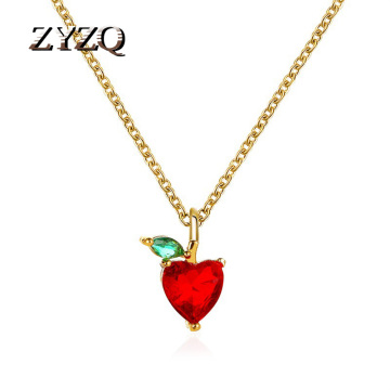 ZYZQ Summer Small Fresh Fruit Necklace Pendant Apple Necklace Simple Student Jewelry