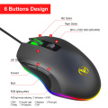 HXSJ Wired Gaming Mouse DPI 6400 Optical Mice RGB Backlit Office Mouse 7 Buttons Ergonomic Design for Gaming Lover