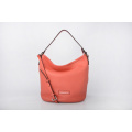 New Promotion Simple Style Red Leather Bucket Bag