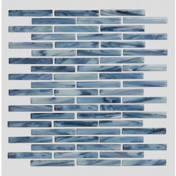 Blue Pattern Glass Mosaic Tiles For Living Room