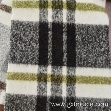 Woolen Boucle Plaid design with long brushed fabrics