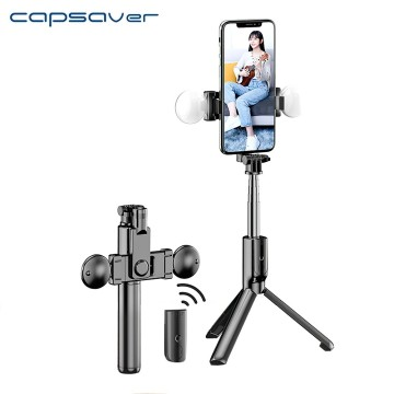 capsaver Selfie Stick Bluetooth Wireless Mini Tripod Extendable Monopod with Remote Control Fill Light for Phone Live Anti Shake