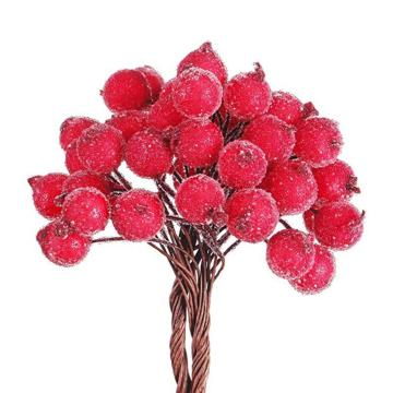 40pcs Decorative Mini Christmas Frosted Artificial Berry Vivid Red Holly Berry Holly Berries Wedding Home Decor