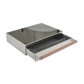 Stainless steel knock box drawer with wooden handle
