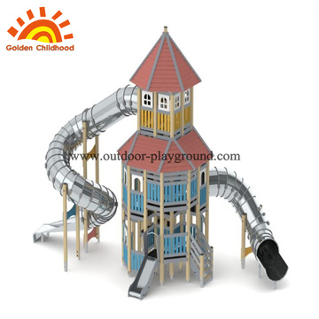 HPL outdoor playground equipment tube slide