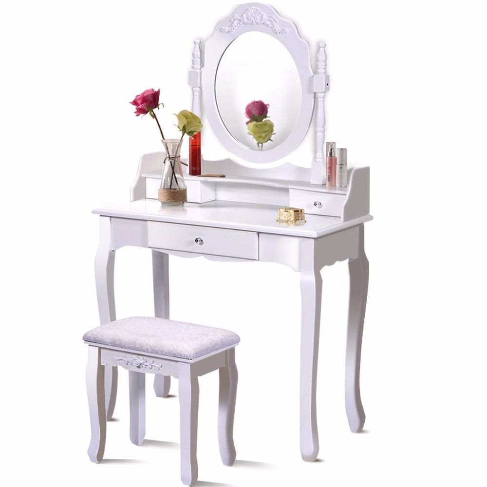 Bathroom Vanity Wood Makeup Dressing Table Stool Set with Mirror Round Mirror 3 Drawers