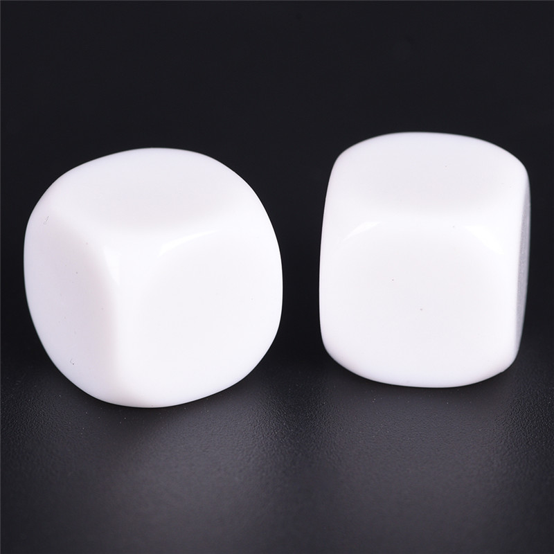 10PCS White Round Corner Gaming Dice Standard Six Sided Die For Birthday Parties Other Game Accessories 16mm