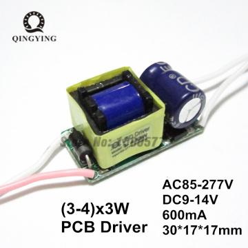 5pcs Isolation 10W AC85-277V High Power LED Driver 3-4x3W 600mA DC9-14V 3x3w 4x3w Constant Current LED Bulb Lamp Power Supply
