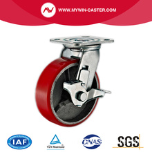 4'' Swivel Heavy Duty PU Industrial Caster with Iron Core With Size Brake