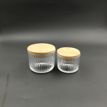 Wholesale ribbed chear glass candle jar with wood lid
