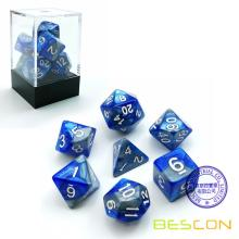 Bescon Gemini Polyhedral Dice Set Steelblue, Two-tone RPG Dice Set of 7 d4 d6 d8 d10 d12 d20 d% Brick Box Pack