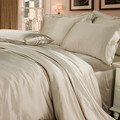Silk Queen Duvet Cover Fitted Sheet Pillowcases Set